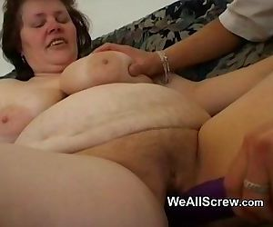 Younger guy dildos old womans ass..