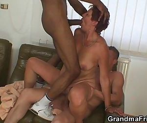Interracial threesome with old..