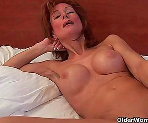Sultry grandma probes her old..
