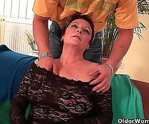 Sexy grandma enjoys his cock in..