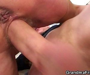 Riding grandmother sucking..