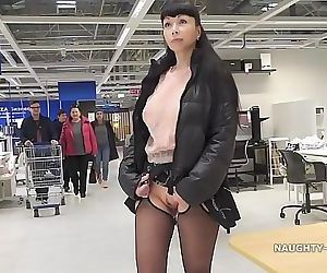 Short skirt and sheer blouse for..