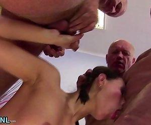 Three dirty old men fucking a hot..