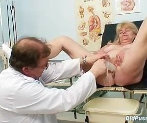 Blond grandma kinky pussy exam..