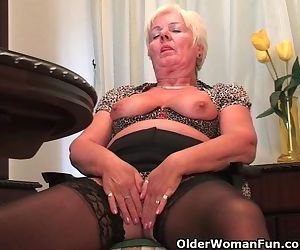 Chubby Granny In Black Stockings..