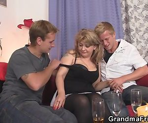 Hot old lady takes two stiff rods..