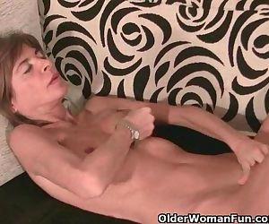 Skinny Grandma Massages Her Small..