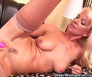 Granny In Stockings Fucks Herself..