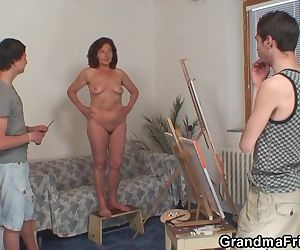 Old woman sucking and riding boys..