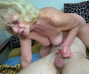 HOT Young guy fucking granny with..