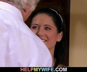 Brunette wife is banged by a..