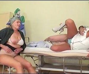 Grandpa fucks nurse while grandma..