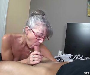 Skinny greyhaired granny sucks my..