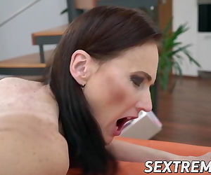Elderly babe Alice Sharp fed cum..