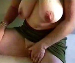 Horny cute grandma stroking her..