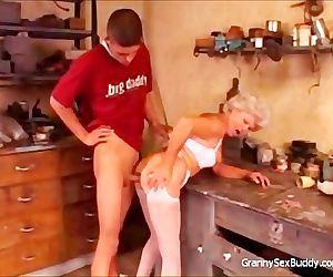 Naughty granny likes anal
