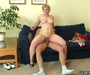 Lonely granny sucks and rides his..
