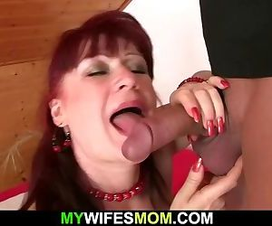 Hot mother-in-law rides his cock..