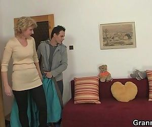 Young guy picks up old blonde and..