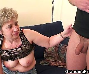 Nasty granny toying before double..