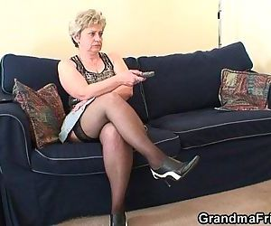 Old bitch takes two cocks after..
