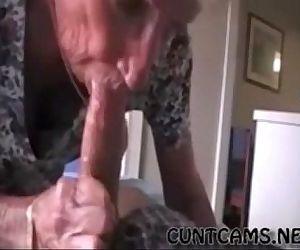 Grandmas Roommate Getting Fed Cum..