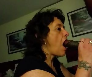 Granny sucking black cock