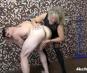 Grandma jerks young cock 7 min