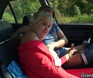 Granny gets screwed in the car -..