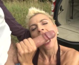 Wild amateur MILF gets big cock..