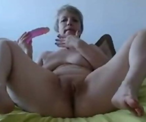 Blonde Granny Masturbates with..