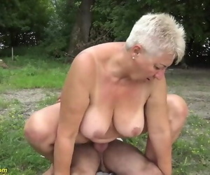 69 Years old BBW Grannie Outdoor..