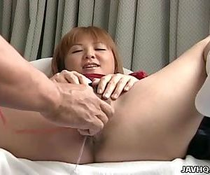 Asian slut getting her wet pussy sex toy treated