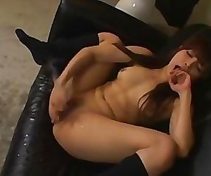 Adorable asian girl gushing like crazy