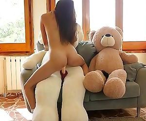 Asian japanese girl Miyuki first sex with plush toys after..