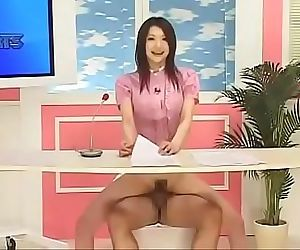 Japanese reporter fucked as she reports the..