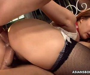 Big boobs and ass Asian sex slave made to fuck and suck -..