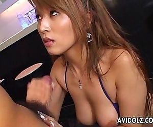 Fine Asian slut strokes that cock and titty fucks it - 7 min