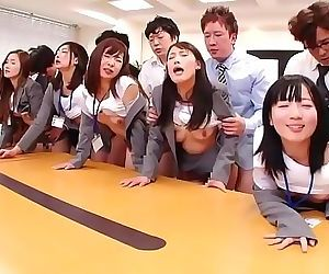 JAV huge group sex office party in HD with Subtitles 3 min..