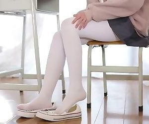 White pantyhose chinese foot tease