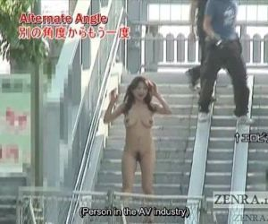 Subtitled busty Japanese public nudist goes for a walk - 6..