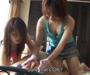 Subtitled CFNM Japanese gloved femdom full body teasing -..