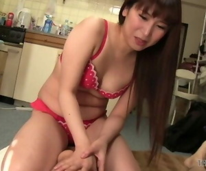 Sexy Asian Chick in Red Lingerie Gets her Pussy Fingered..