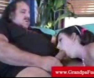 Pierced pussy getting oral by old man
