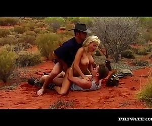 Gabriella Bond has an anal threesome in the desert