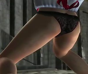 Dead or alive 5 Kasumi in sexy christmas skirt windy upskirt ass exposed !