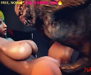 Big tits with monster in 3d adult game