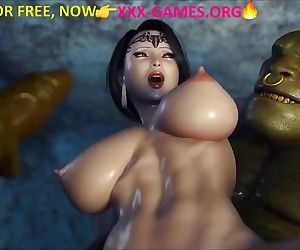 Asian girl and 2 trolls in nature. Great porn game!