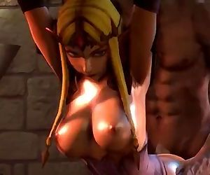 Busty Zelda bound and fucked