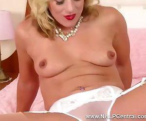Blonde Axa fucks toy deep after sheer panties stuffing in nylons high heels